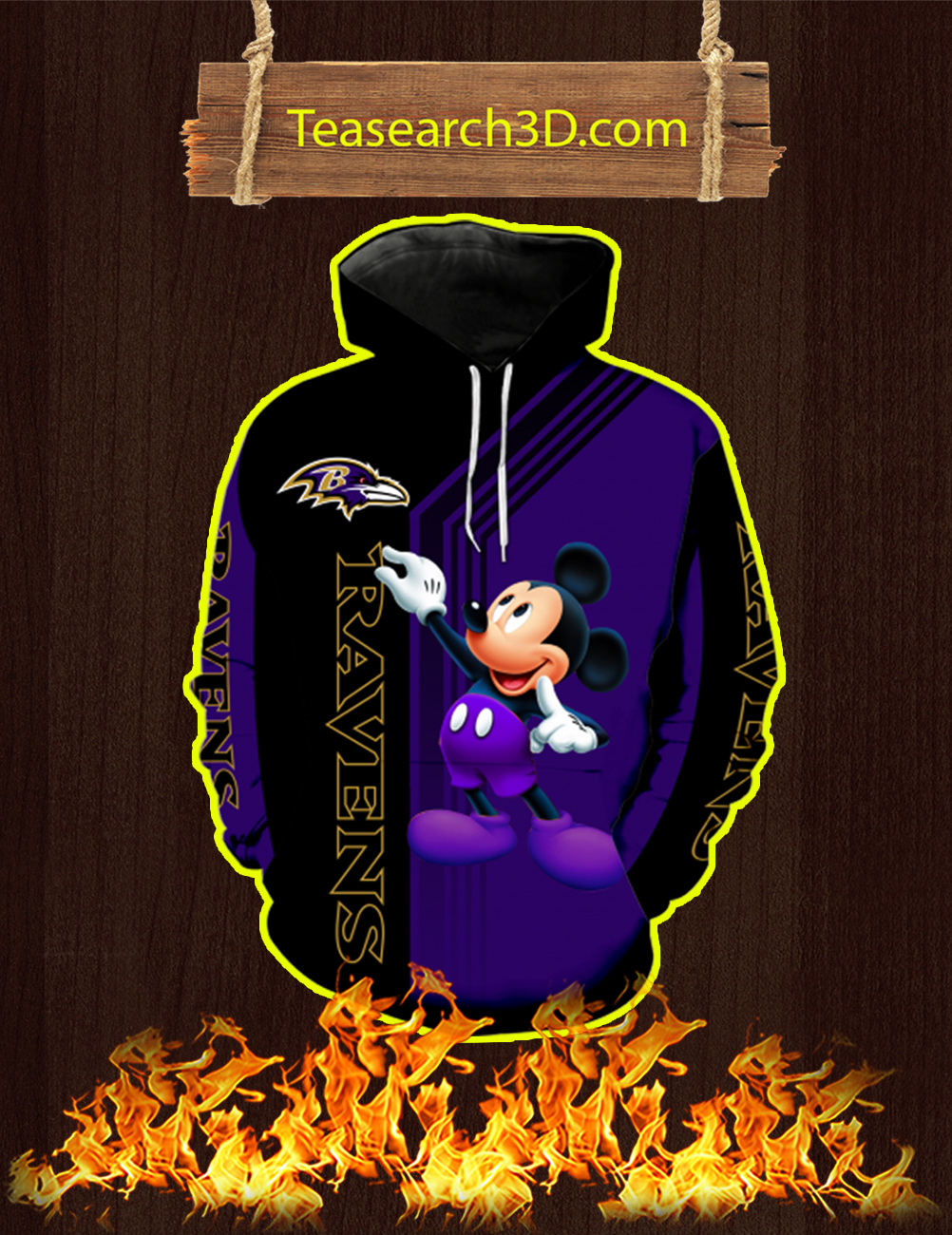 Baltimore Ravens Mickey Mouse All Over Print 3d Hoodie