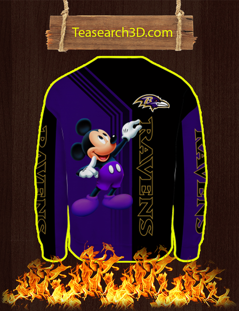Baltimore Ravens Mickey Mouse All Over Print 3d Sweatshirt
