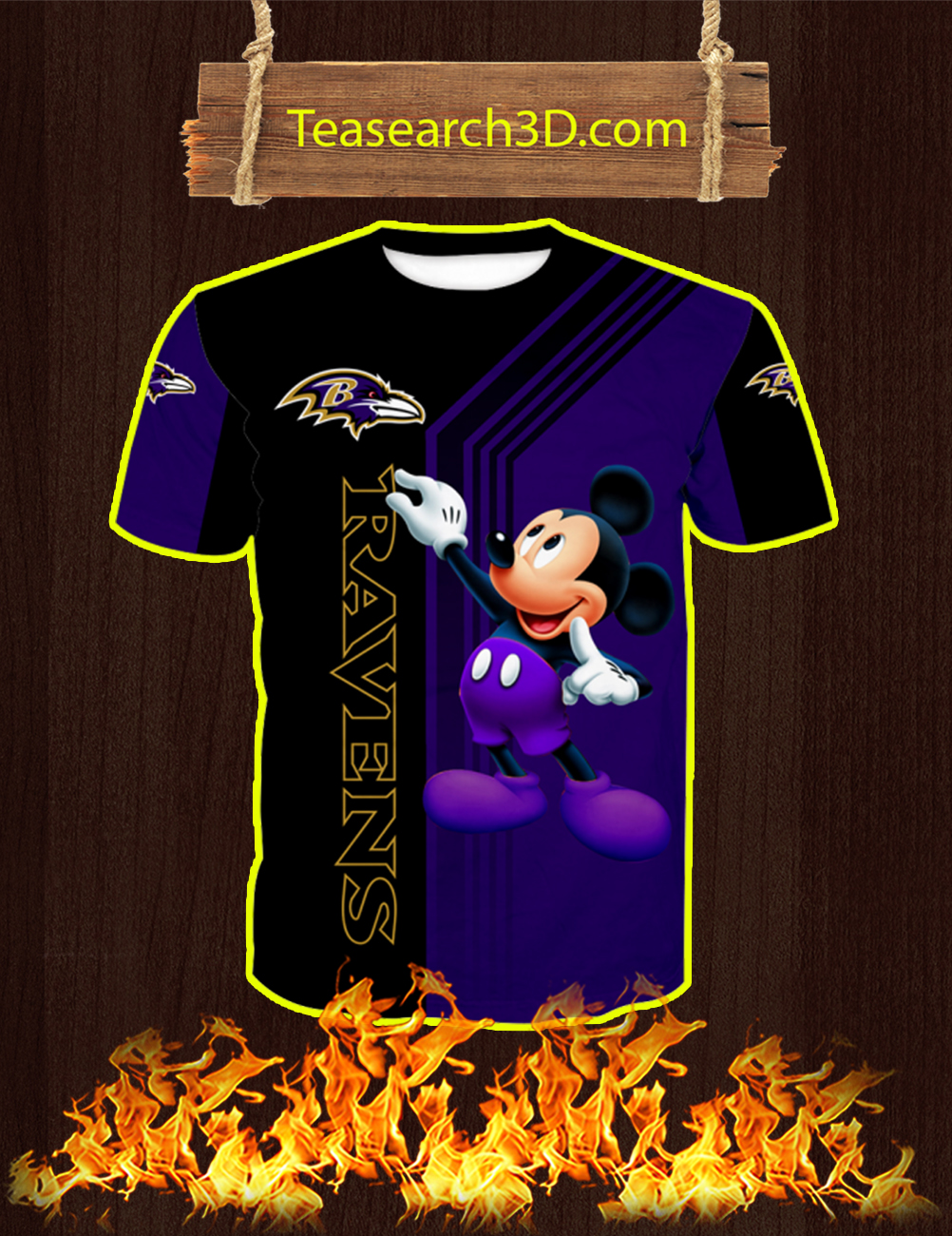 Baltimore Ravens Mickey Mouse All Over Print 3d T-shirt