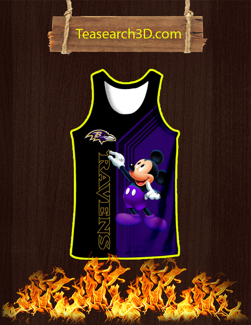 Baltimore Ravens Mickey Mouse All Over Print 3d Tank Top