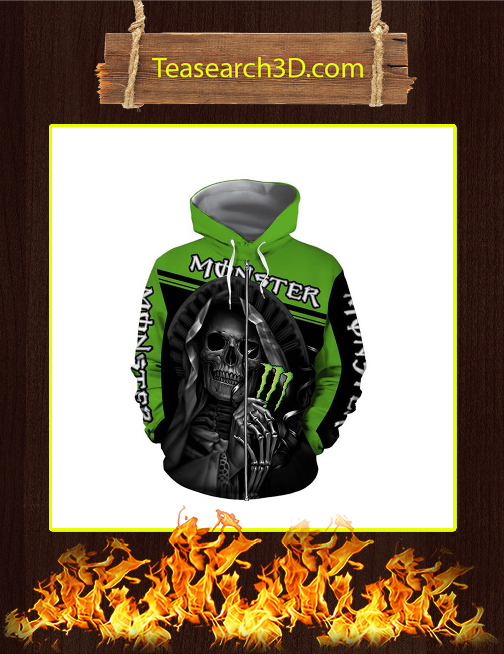 Death Skull Monster Energy 3D Zip Hoodie - front