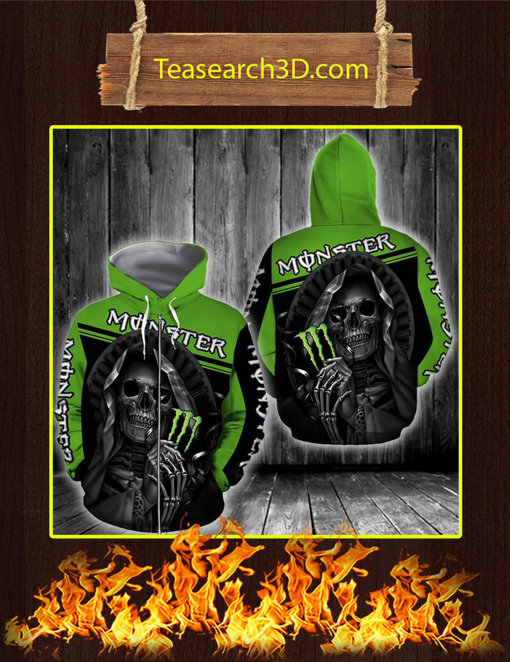 Death Skull Monster Energy 3D Zip Hoodie