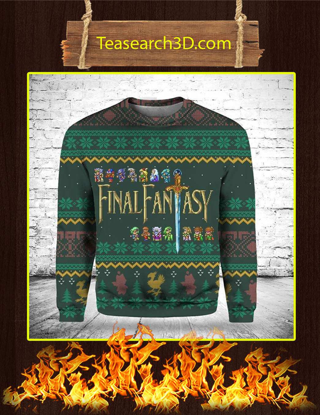 Final Fantasy 3D Ugly Christmas Sweater - M