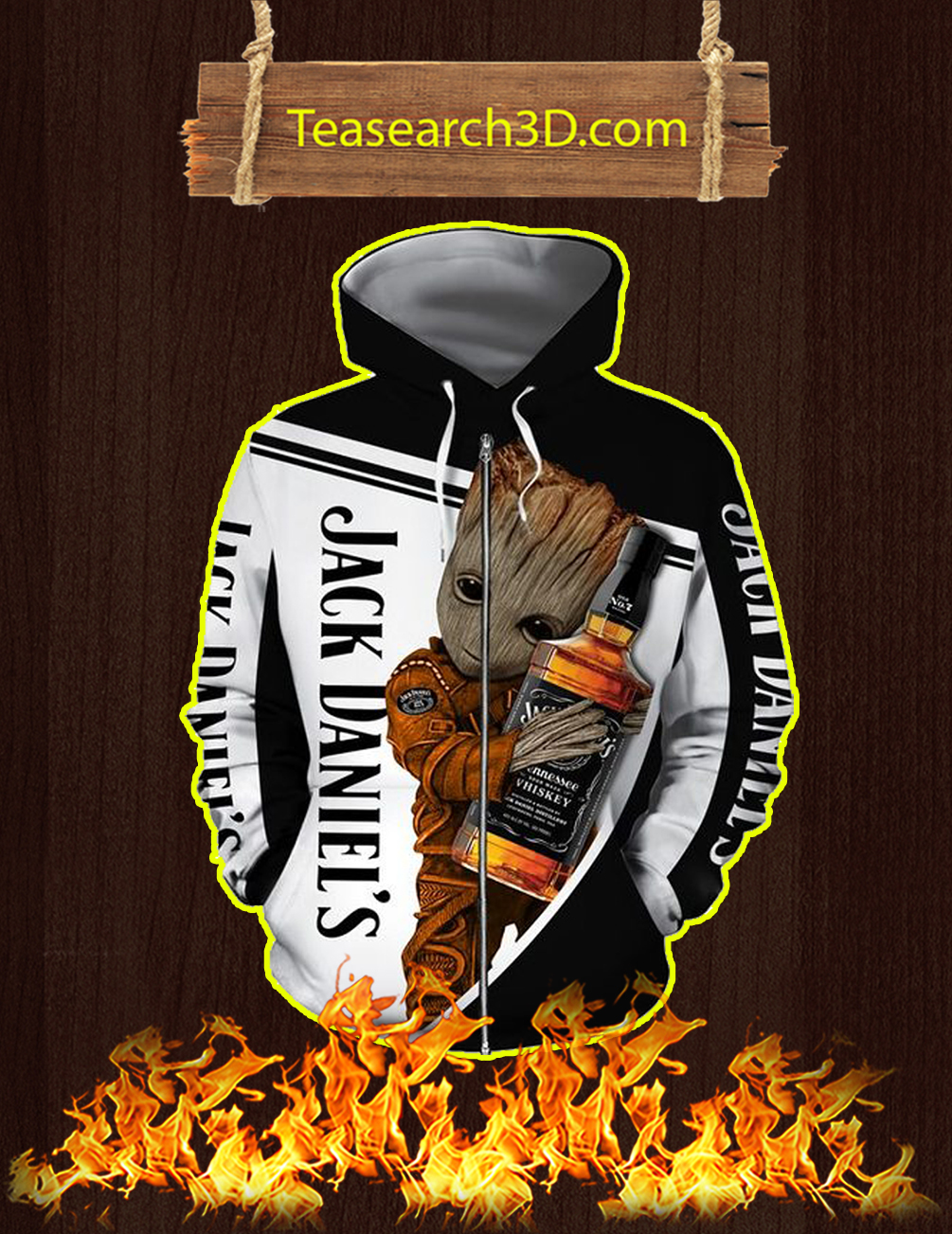 Groot Jack Daniel's 3D Zip Hoodie - front