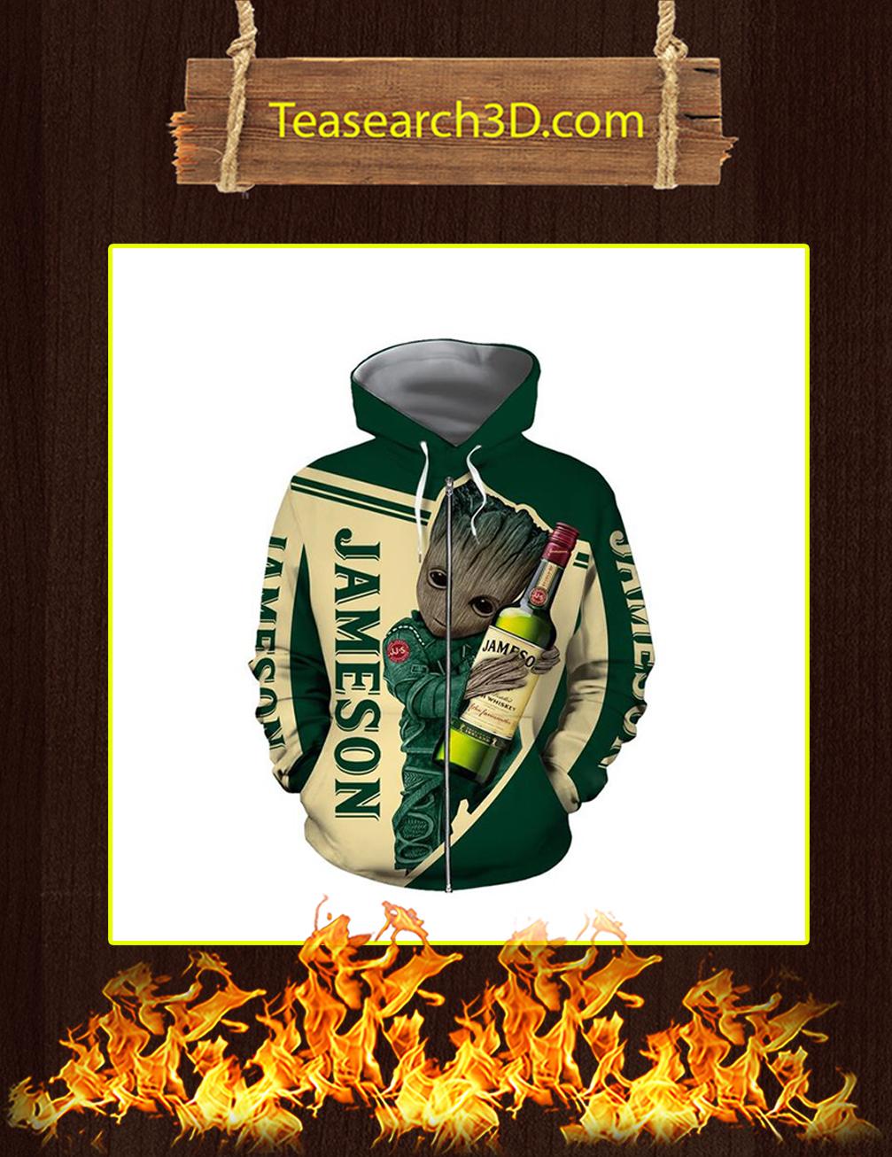 Groot Jameson Irish Whiskey 3D Zip Hoodie - front