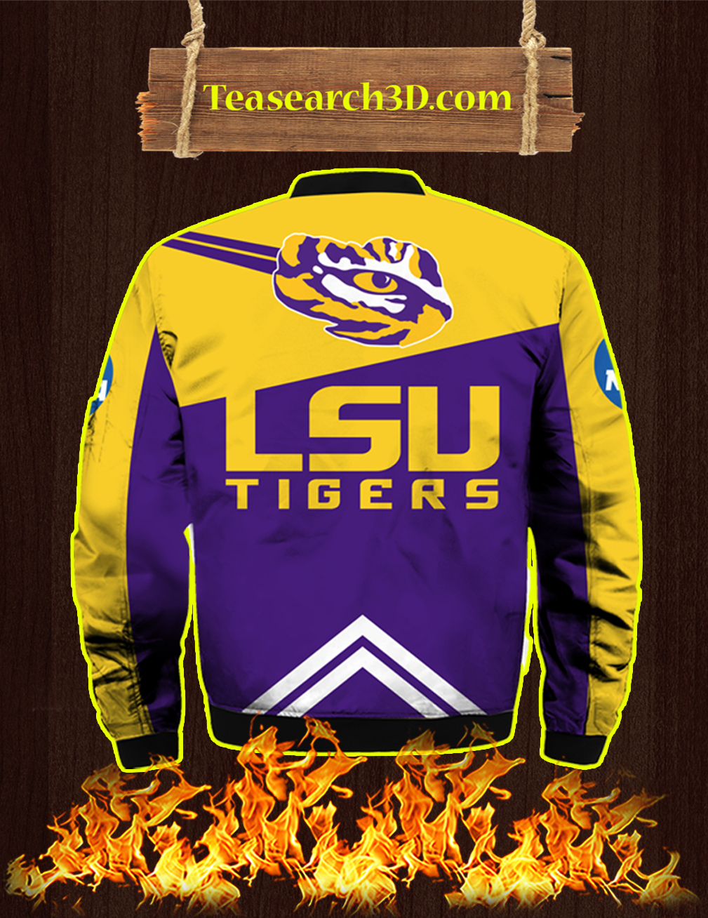 LSU Tigers Peach Bowl Champions 2019 3D Bomber - front