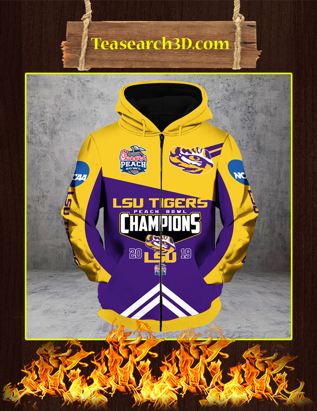 LSU Tigers Peach Bowl Champions 2019 3D Zip Hoodie