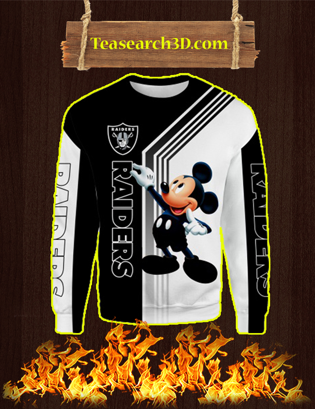 Oakland Raiders Mickey Mouse All Over Print 3d Sweatshirt