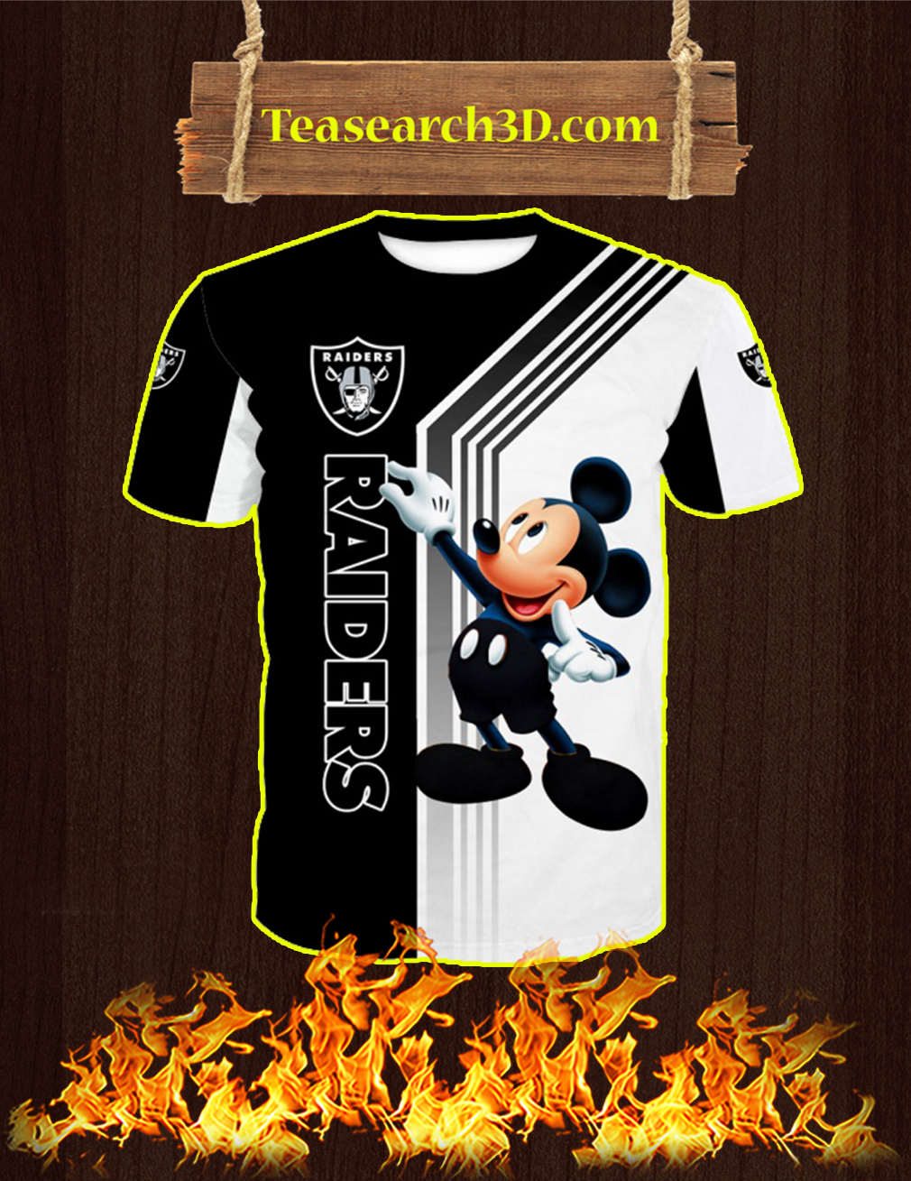 Oakland Raiders Mickey Mouse All Over Print 3d T-shirt