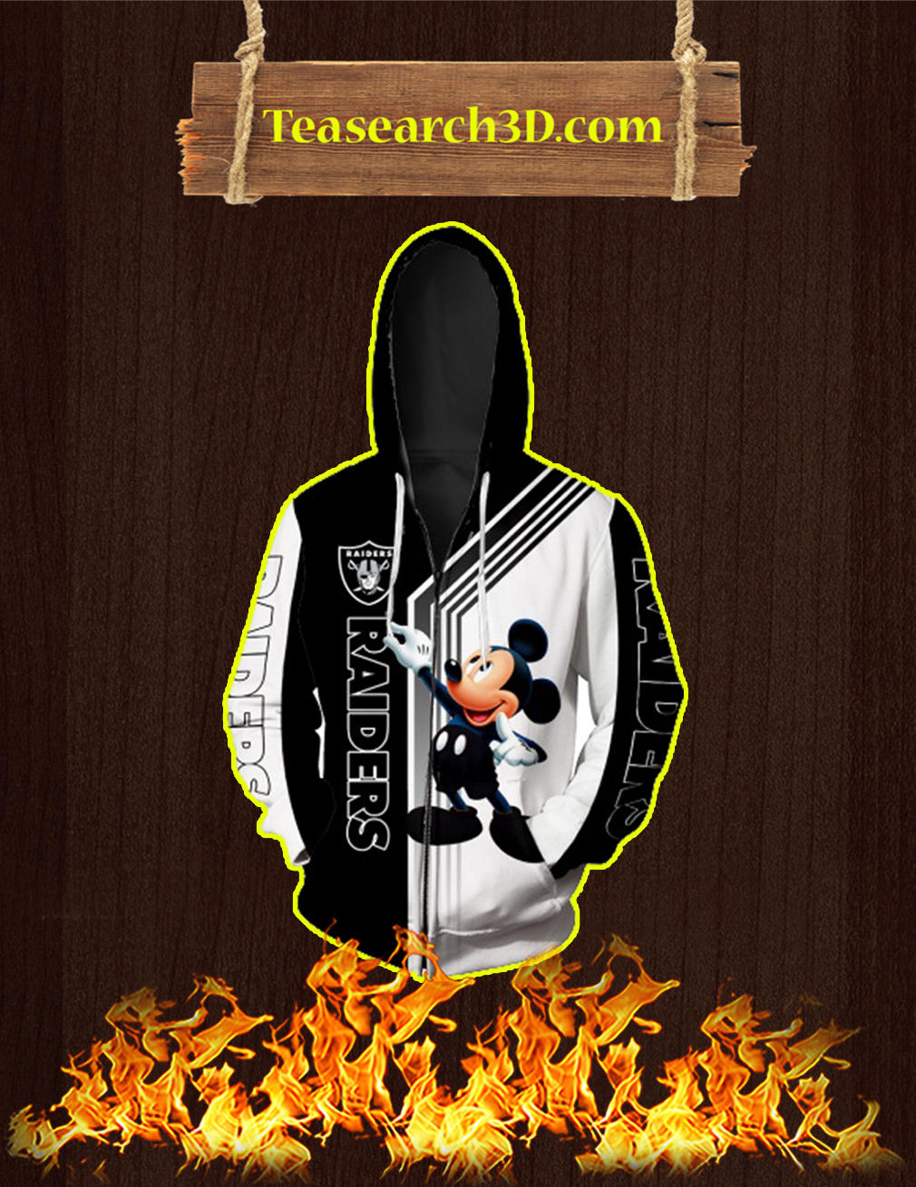 Oakland Raiders Mickey Mouse All Over Print 3d Zip Hoodie