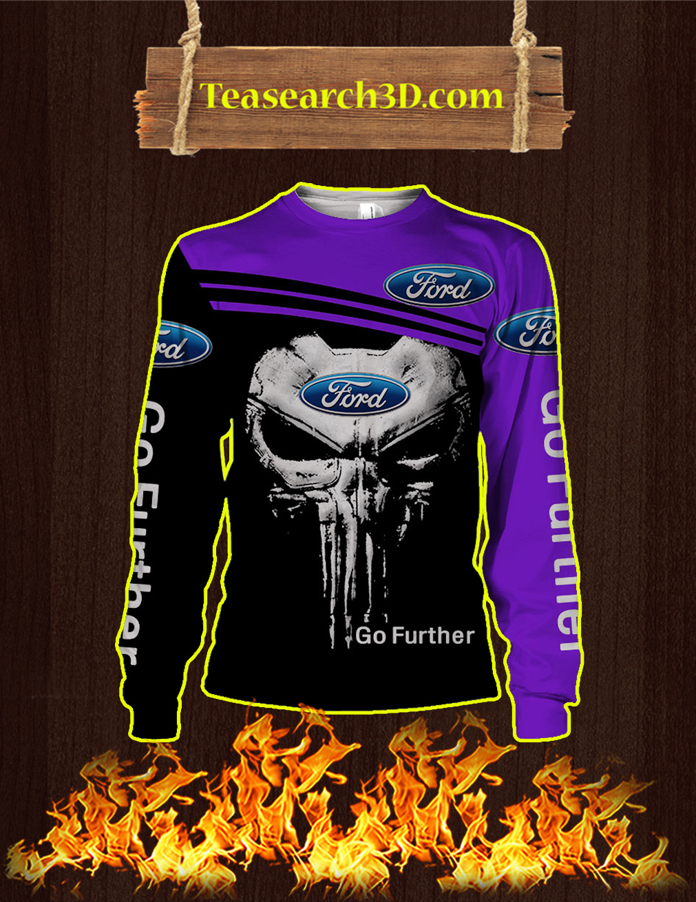 Punisher Skull Ford Go Further 3D Sweatshirt