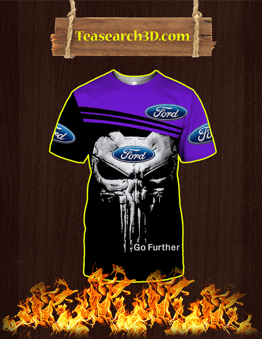 Punisher Skull Ford Go Further 3D T-shirt