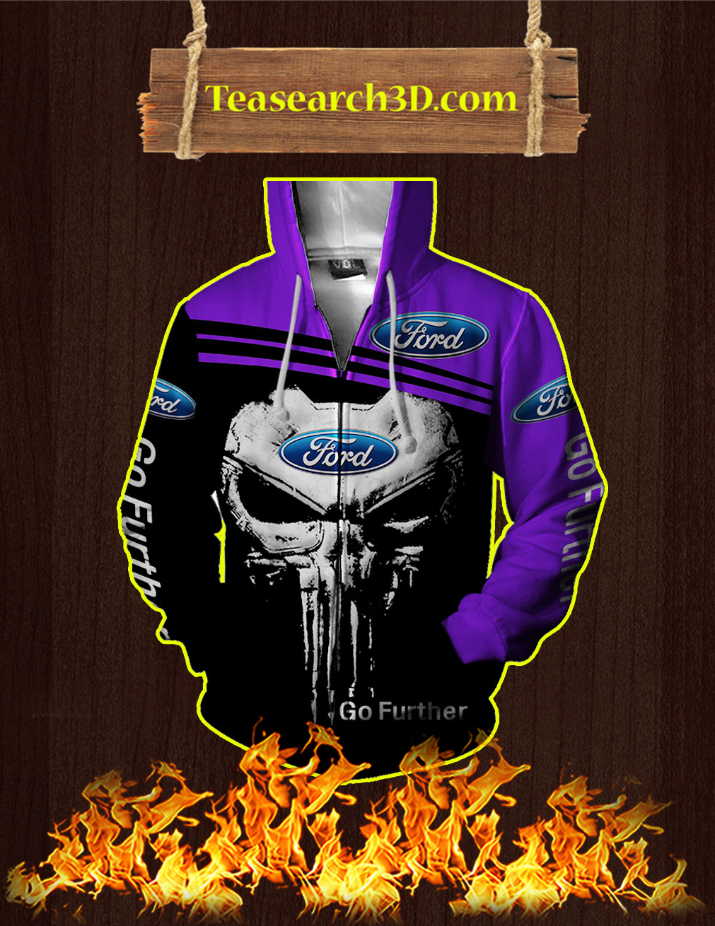 Punisher Skull Ford Go Further 3D Zip Hoodie