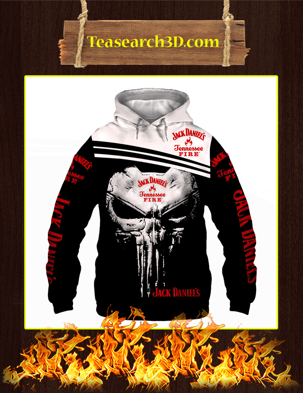 Punisher Skull Jack Daniel's Tennessee Fire 3D Hoodie