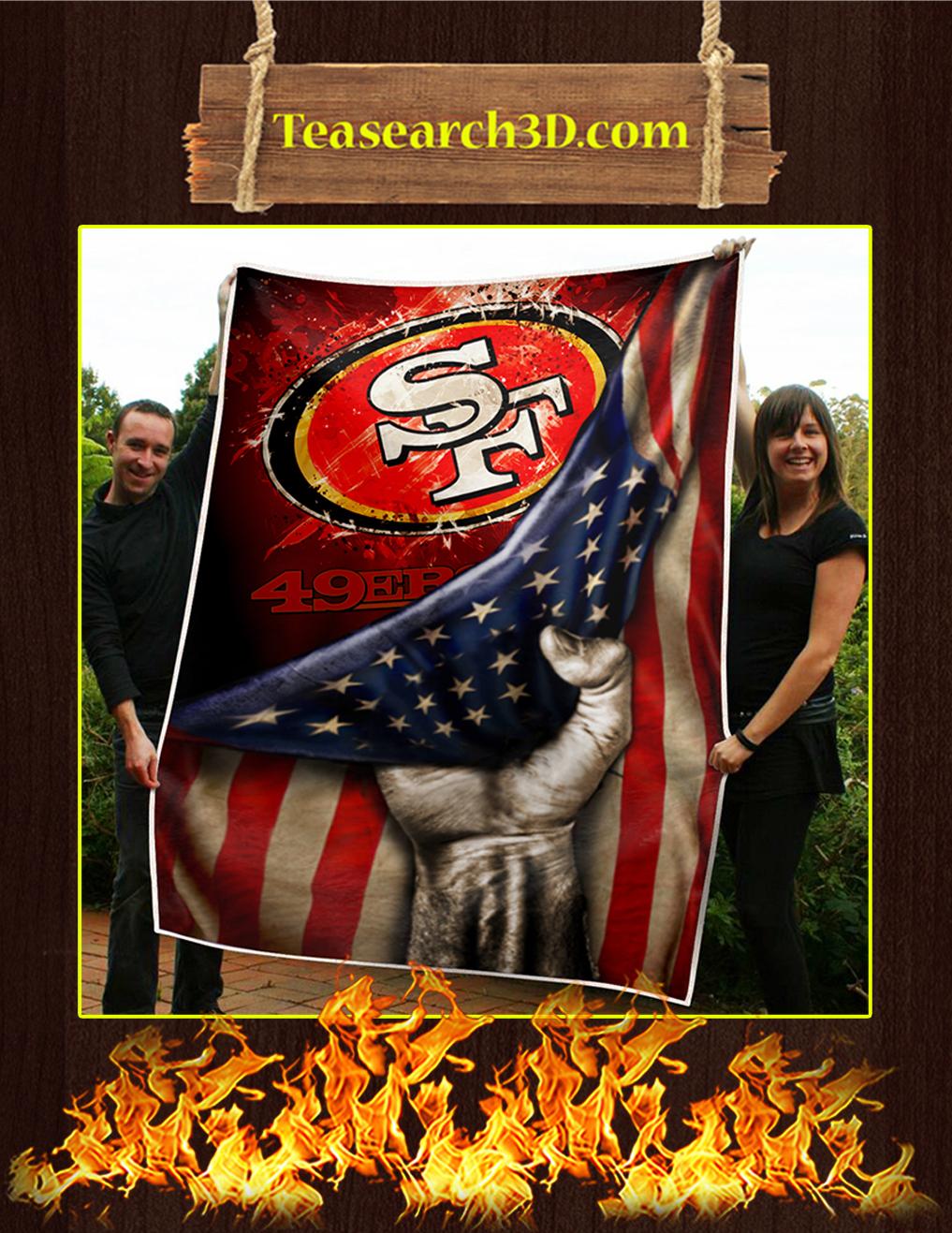 San Francisco 49ers American Flag Quilt Blanket-large