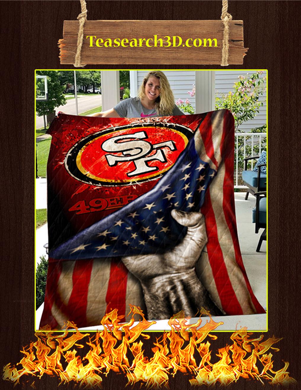 San Francisco 49ers American Flag Quilt Blanket