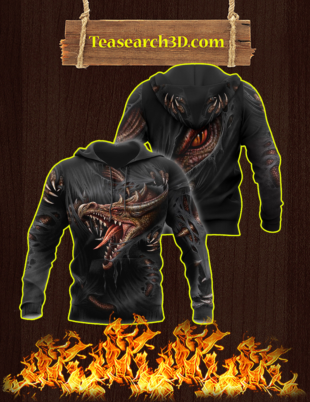 3D Armor Tattoo and Dungeon Dragon Hoodie