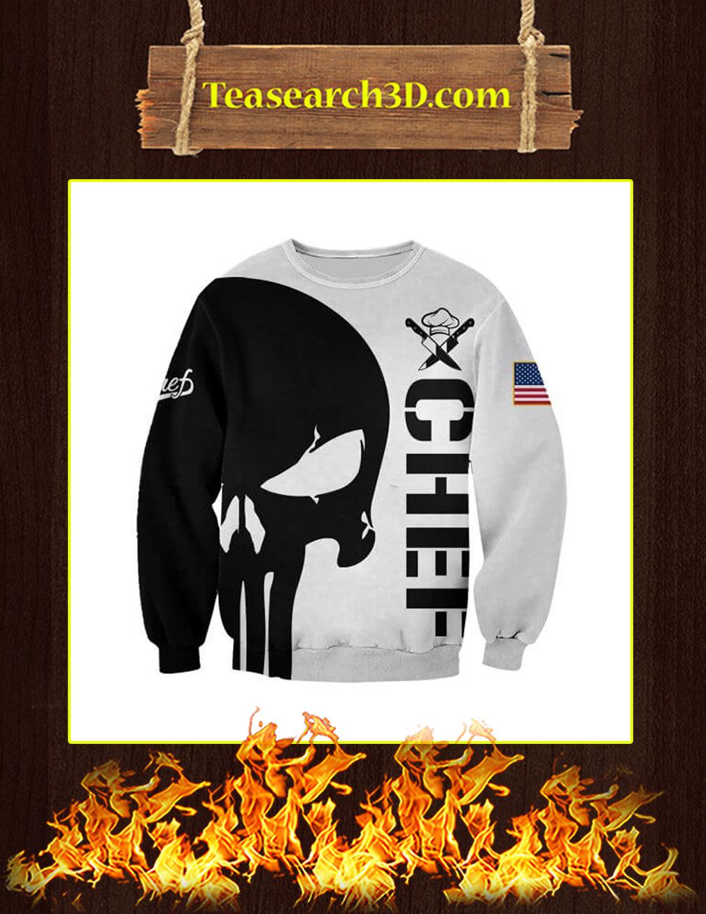 3D Printed Chef Punisher Skull Sweatshirt