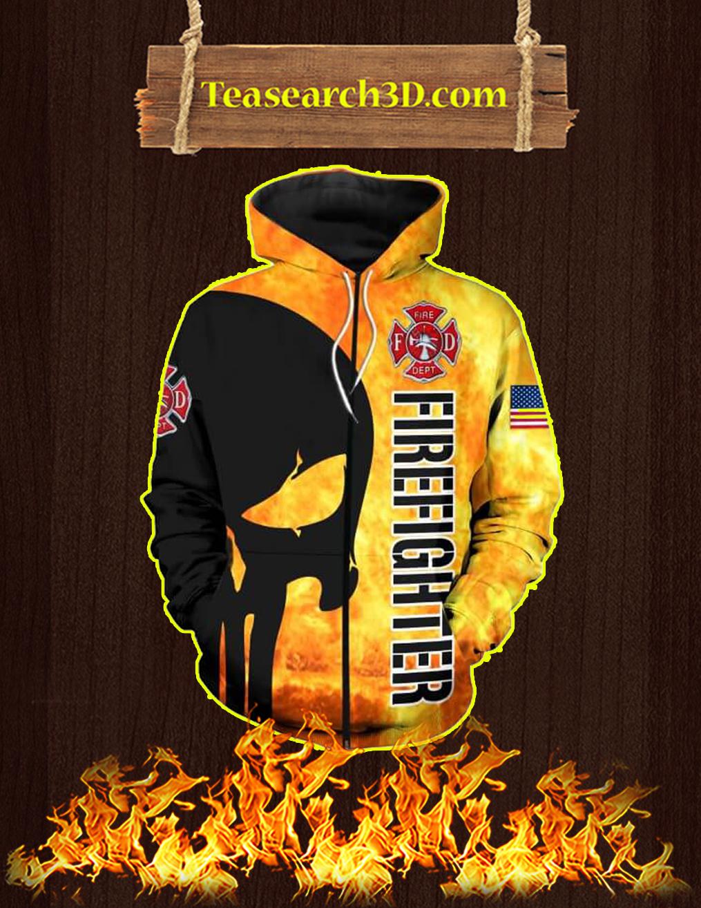 3D Printed Firefighter Punisher Skull Zip Hoodie