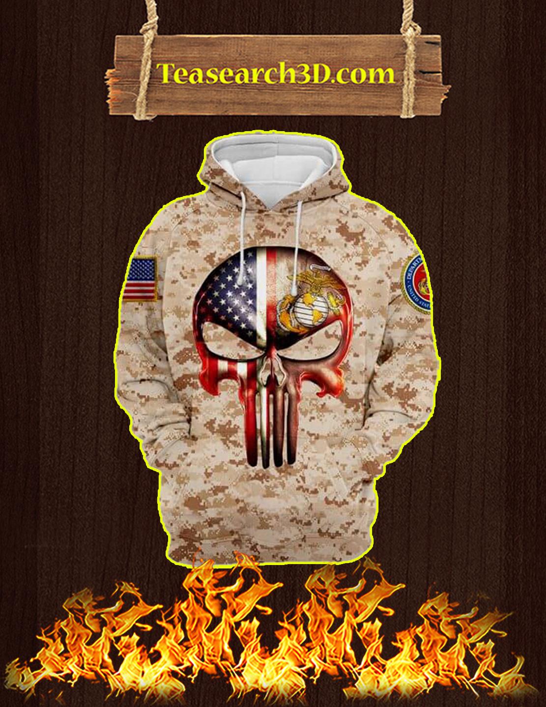 3D Printed U.S Marine Punisher Skull Hoodie - Size L