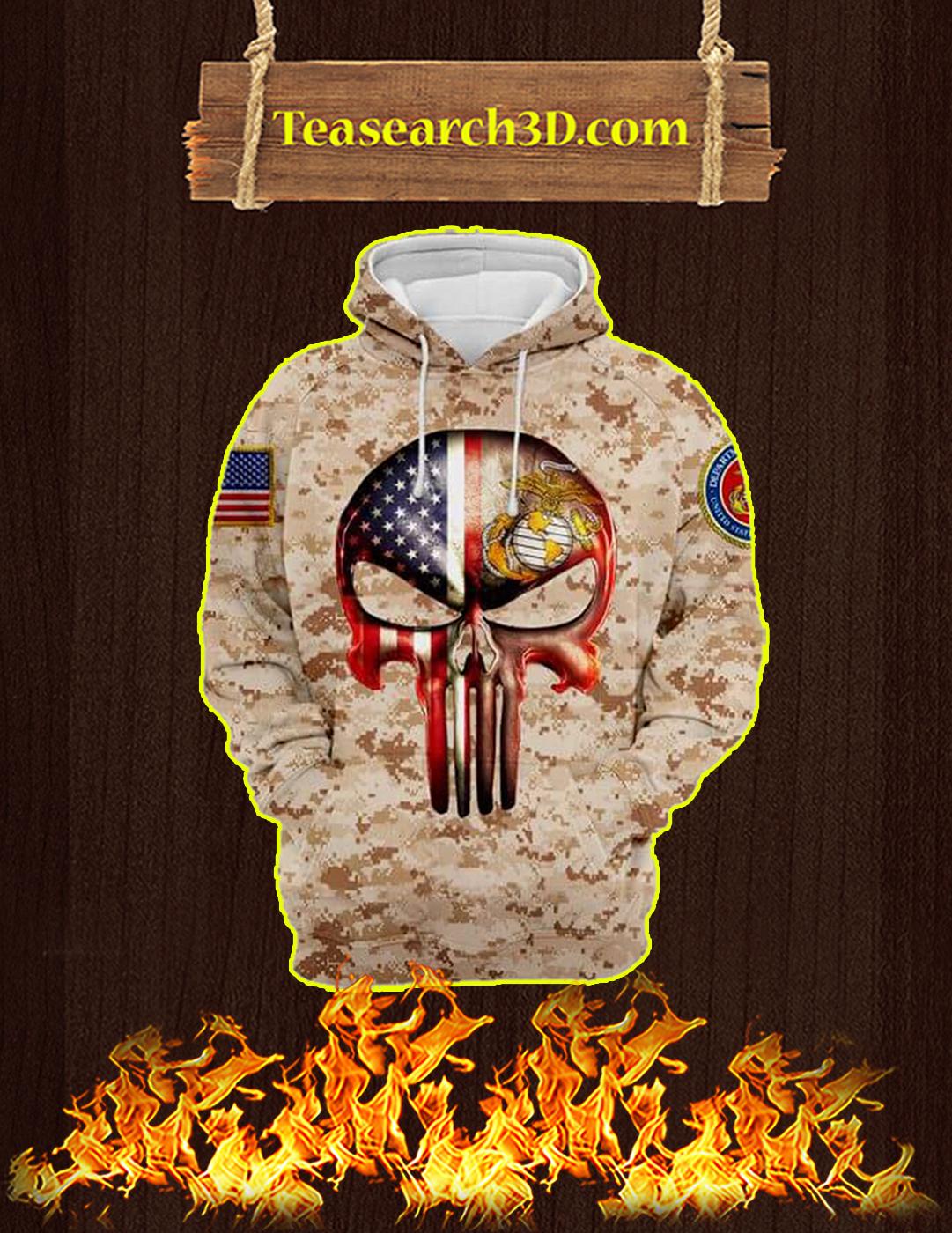 3D Printed U.S Marine Punisher Skull Hoodie - Size M