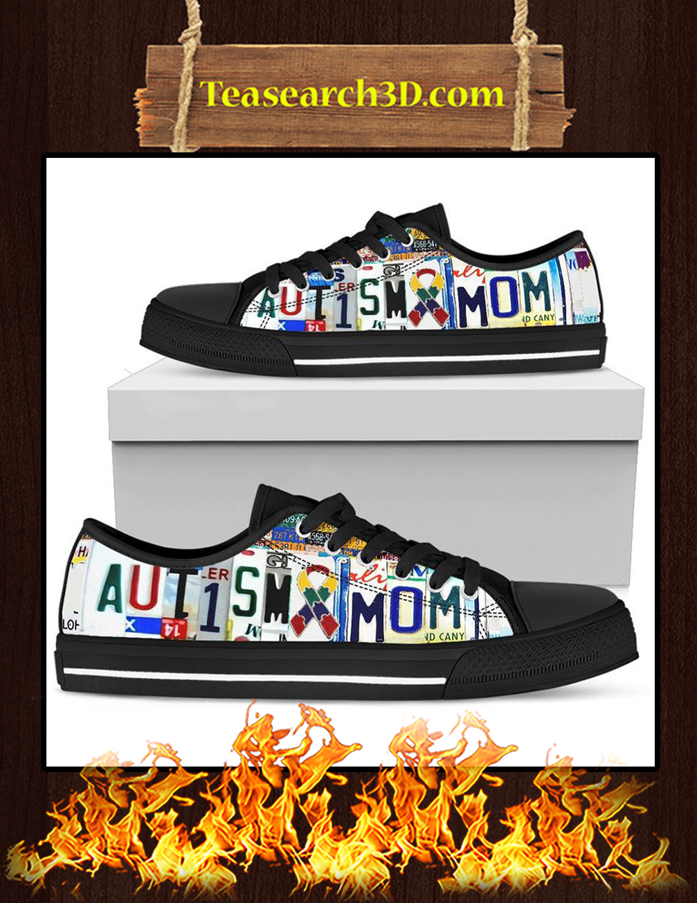 Autism Mom Low Top Shoes - black