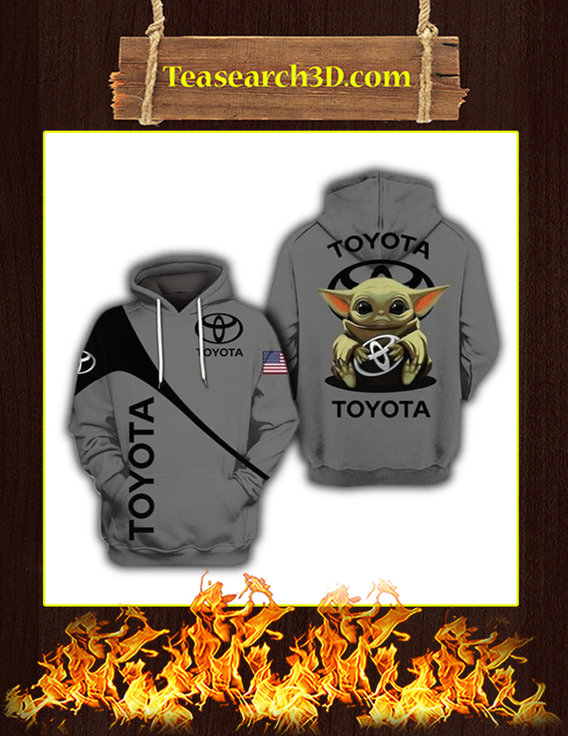 Baby Yoda Toyota 3d hoodie size L
