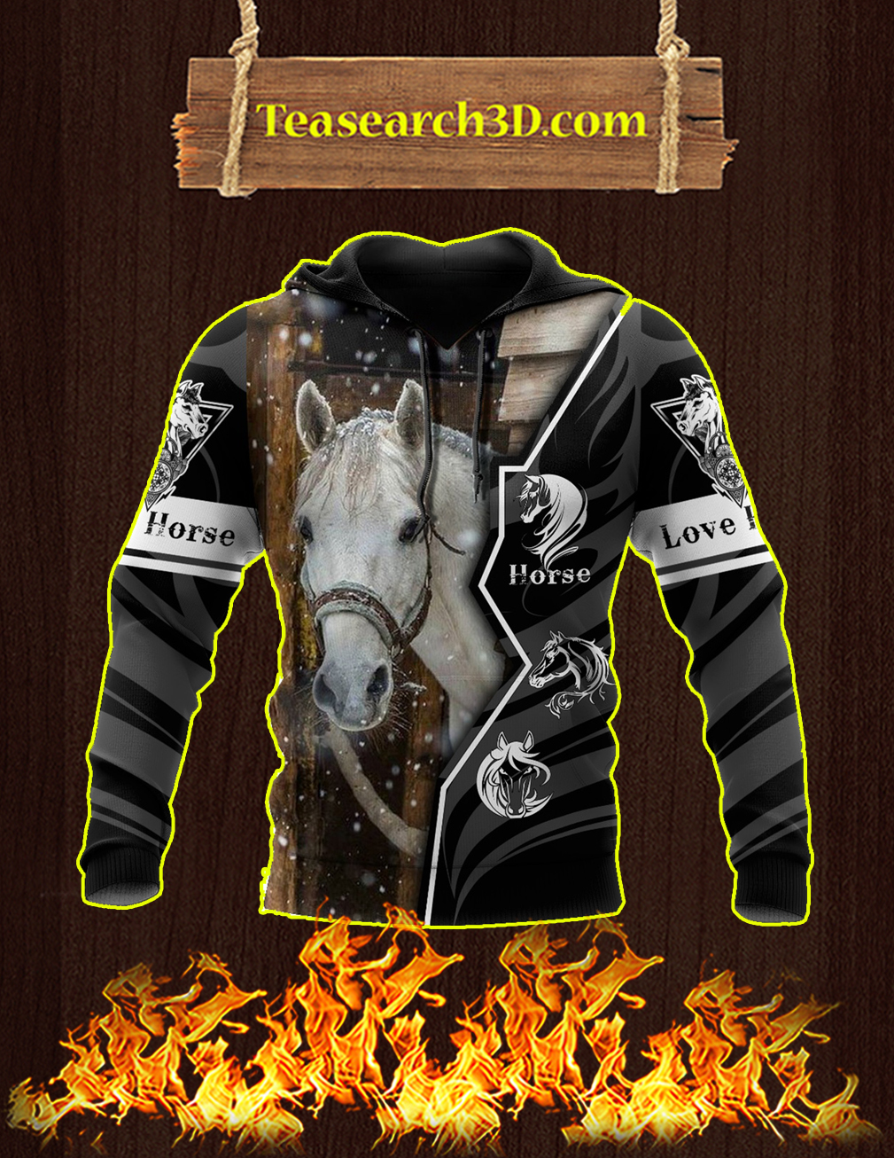 Beautiful Love Horse 3D All Over Printed Hoodie