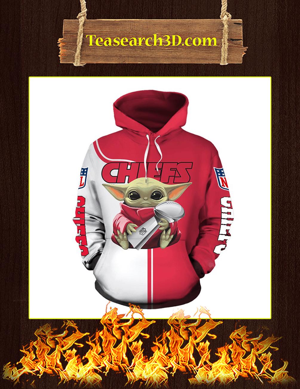 Chiefs Baby Yoda Hug Vince Lombardi Trophy 3D Full Printing Hoodie