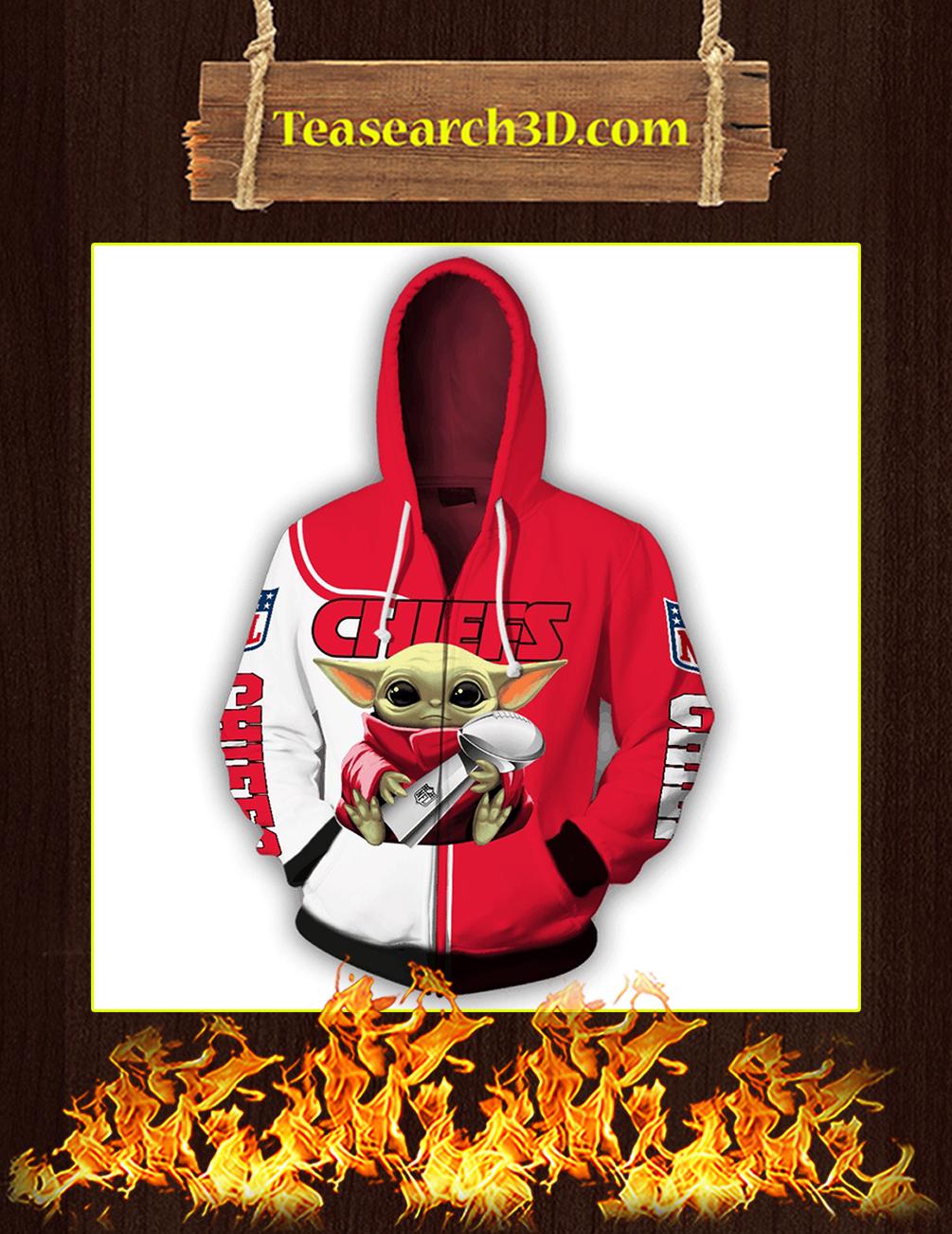 Chiefs Baby Yoda Hug Vince Lombardi Trophy 3D Full Printing Zip Hoodie