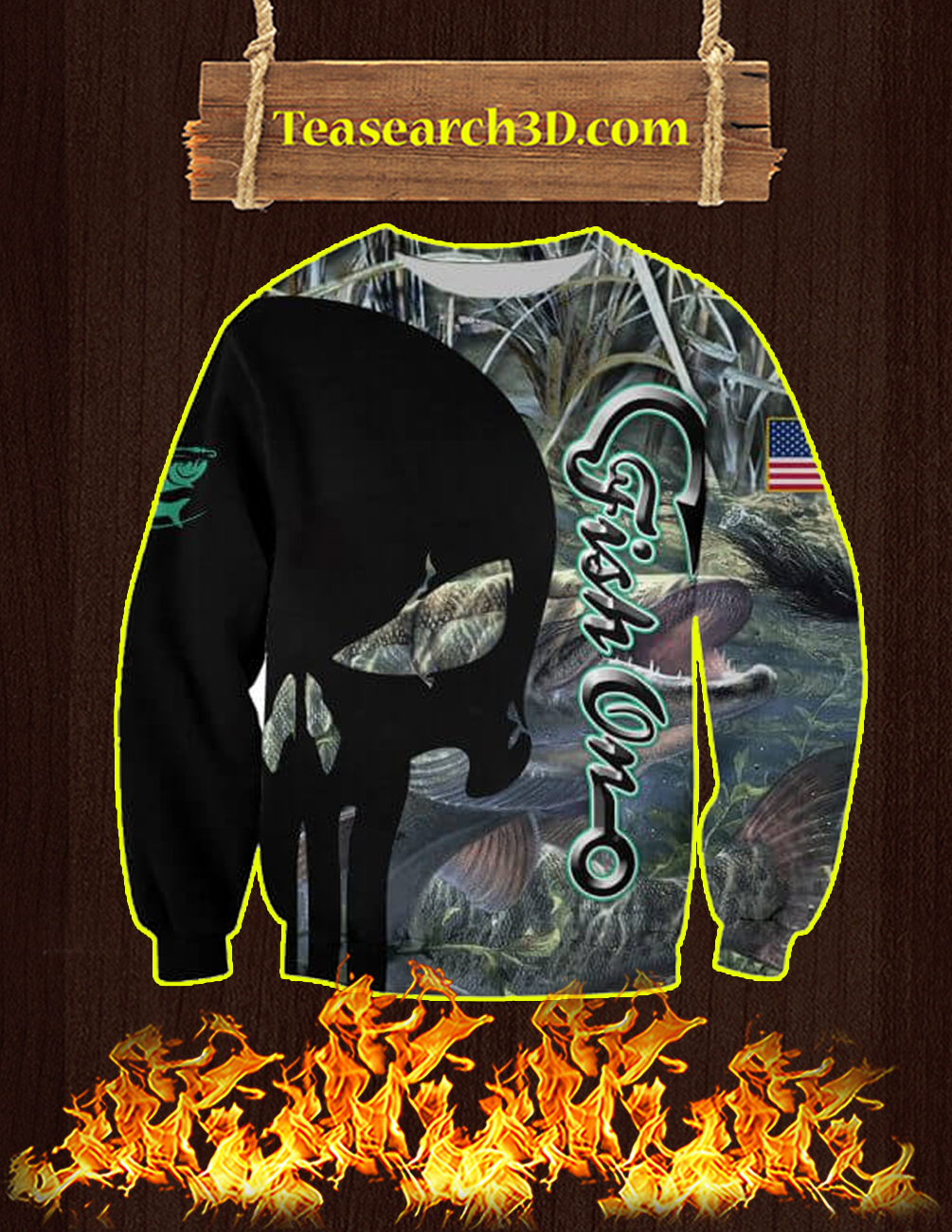 Fishing Punisher Skull 3D Sweatshirt