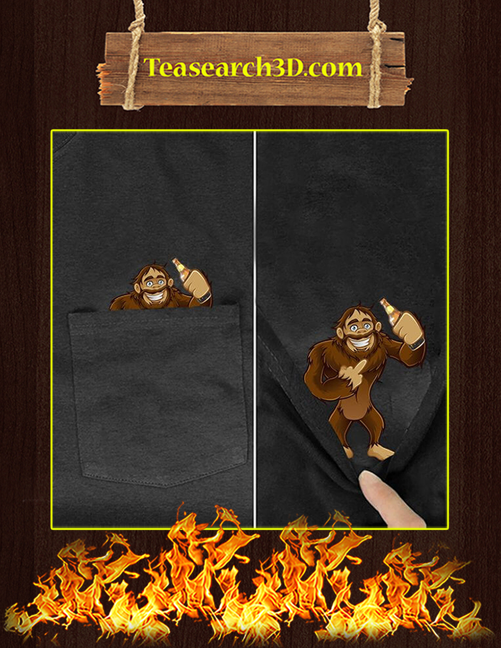 Funny Bigfoot Pocket T-Shirt - In detail