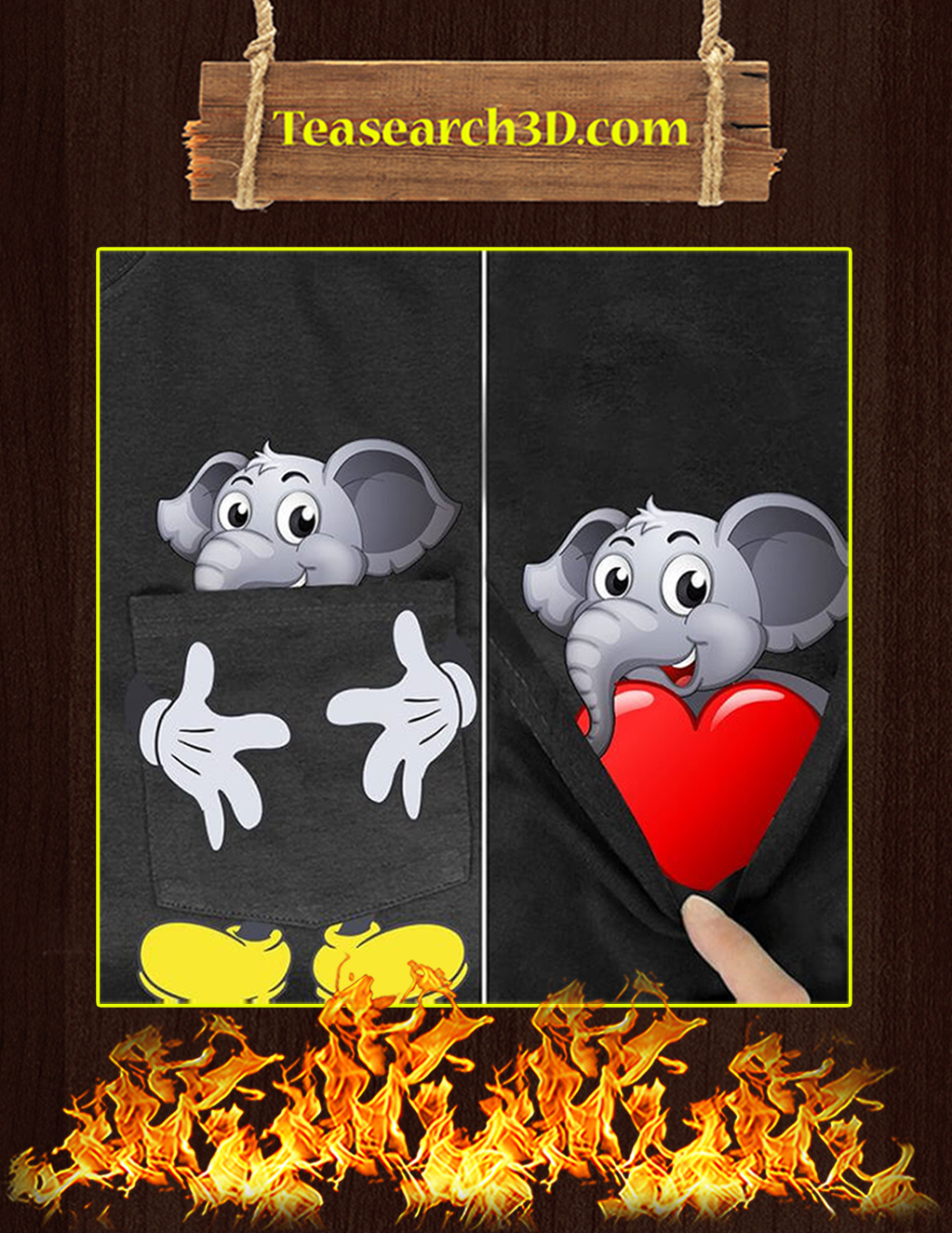 Funny Elephant With Heart Pocket T-shirt - In detail