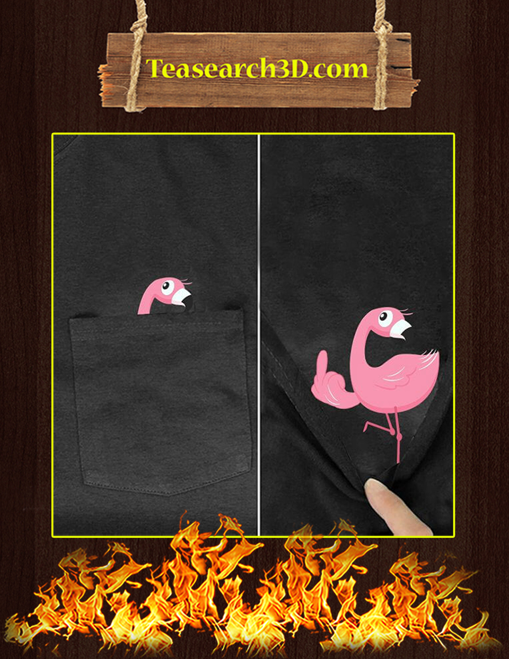 Funny Flamingo Pocket T-Shirt - In detail