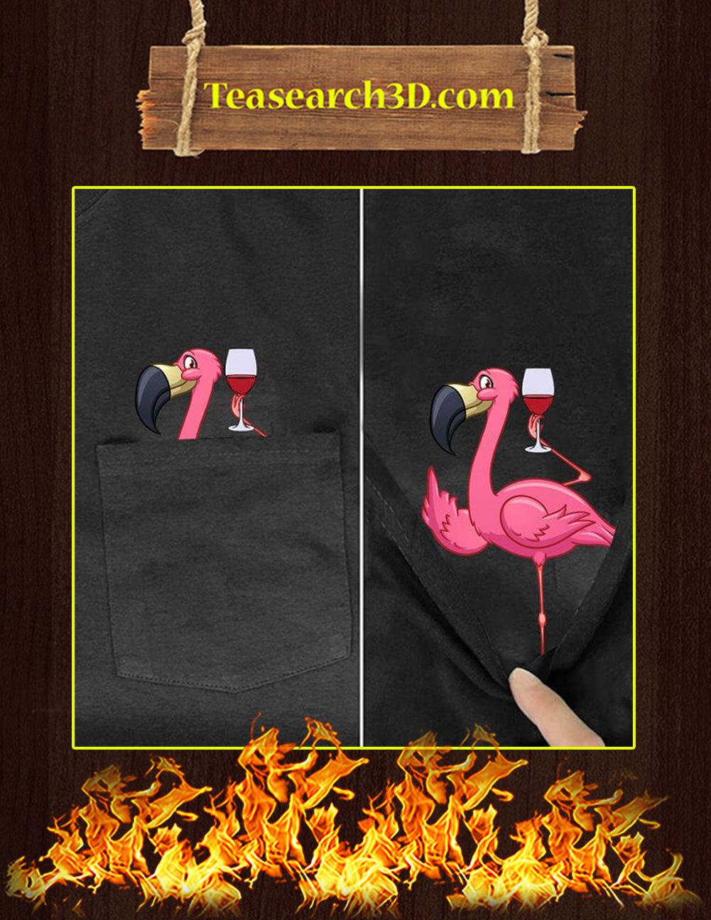 Funny Flamingo With Wine Pocket T-Shirt