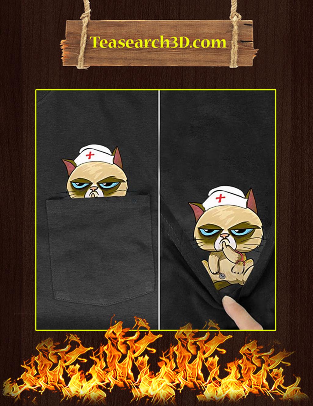 Funny Grumpy Cat Nurse Pocket T-Shirt - In Detail