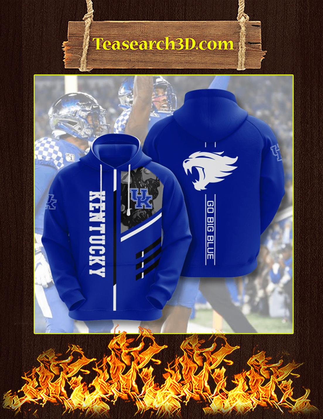 Go Big Blue Kentucky Wildcats 3D Hoodie Size L
