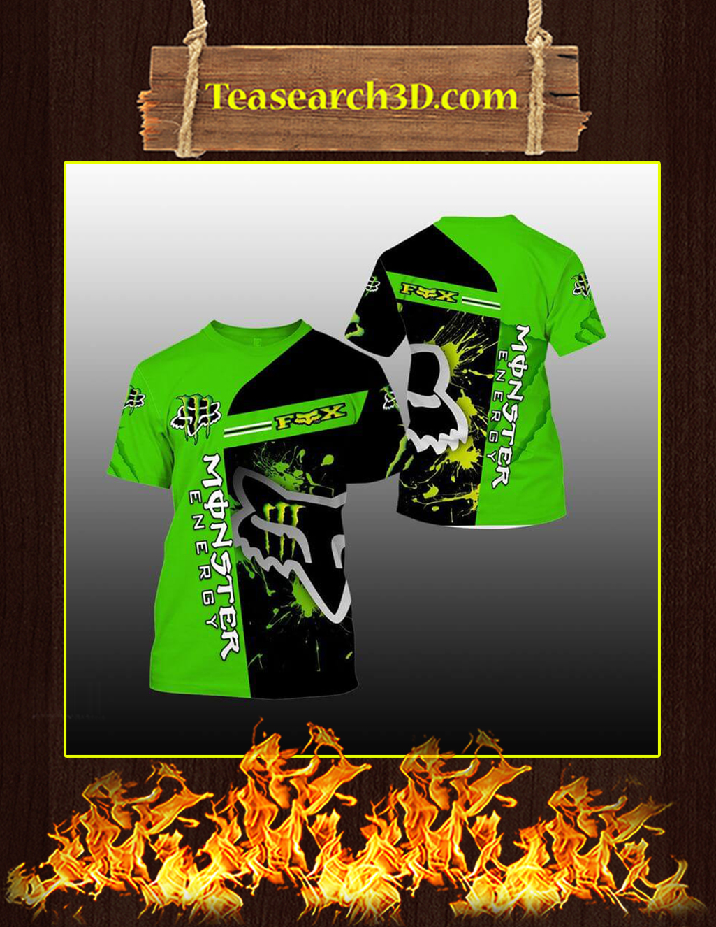 Green Monster Energy Fox Racing 3D T-shirt