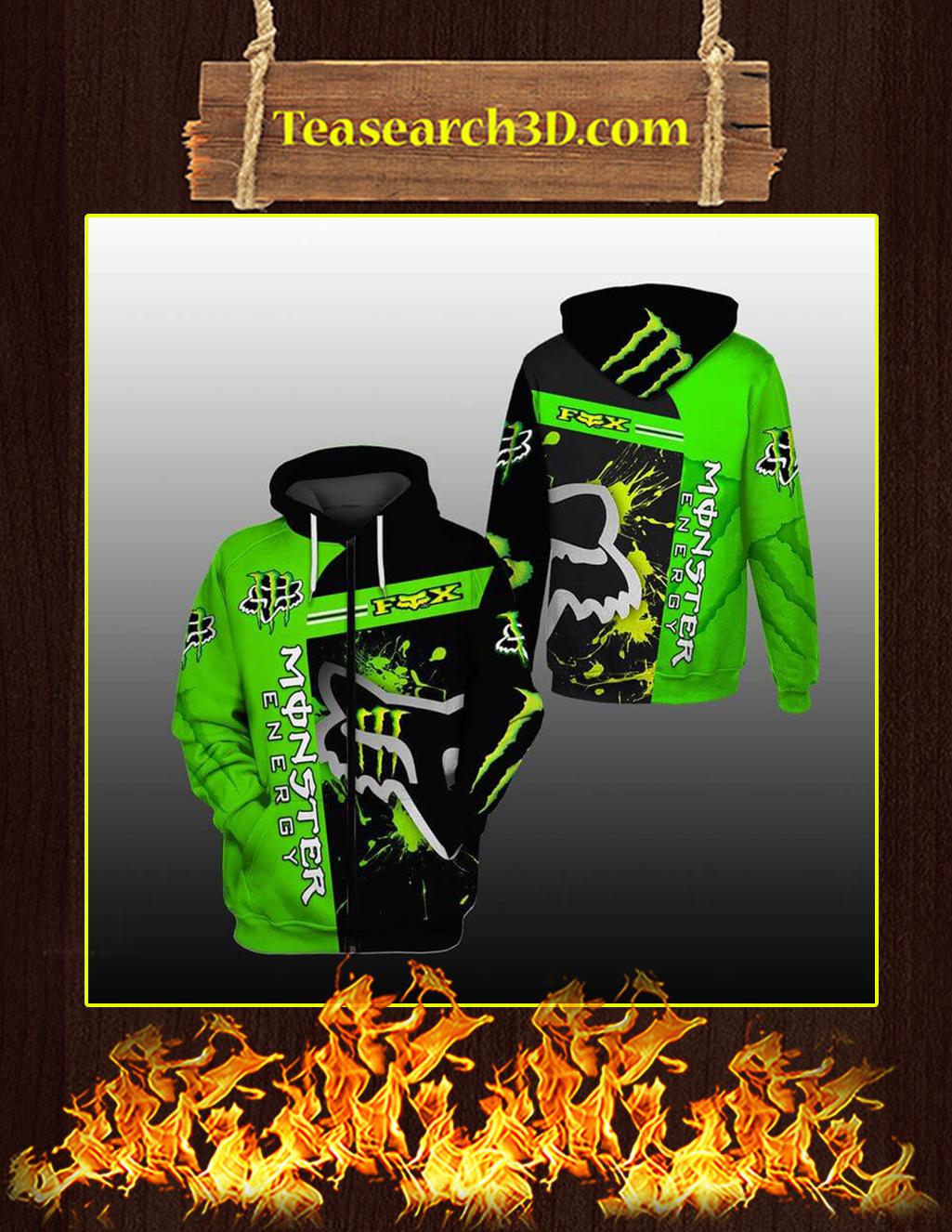 Green Monster Energy Fox Racing 3D Zip Hoodie