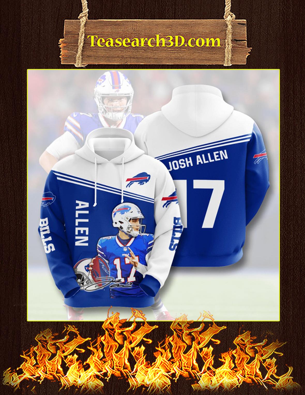 Josh Allen Buffalo Bills 3D Hoodie Size XL
