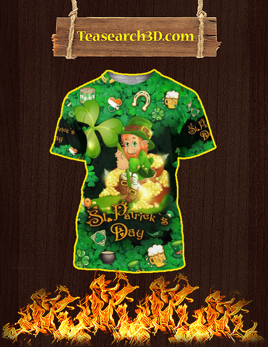 Leprechaun Happy ST Patrick's Day 3D All Over Printed T-Shirt