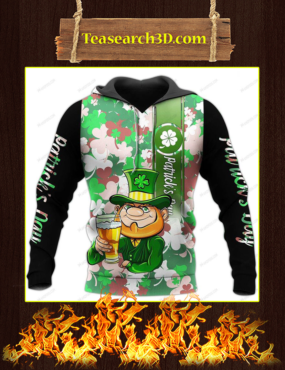 Leprechaun St Patrick's Day 3D All Over Printed Hoodie