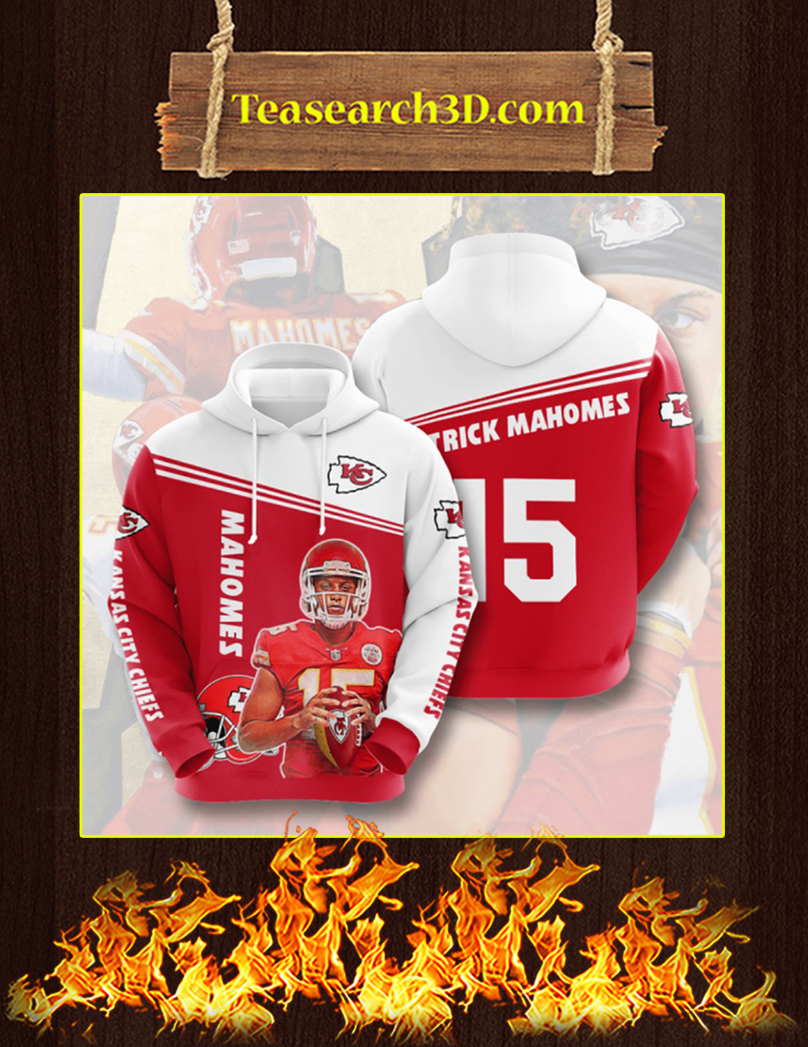 Mahomes Kansas City Chiefs 3D Hoodie Size XL