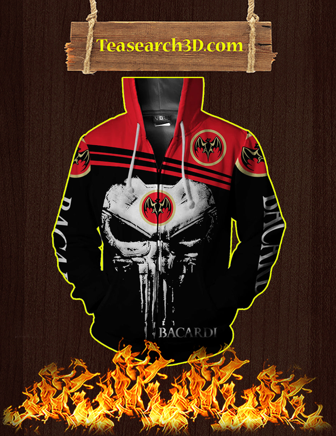 Punisher Skull Bacardi 3D Zip Hoodie