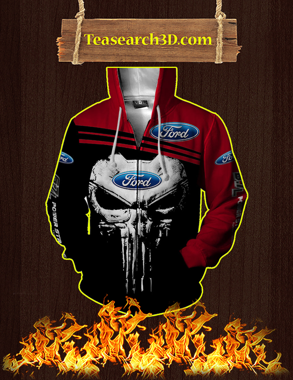 Punisher Skull Ford 3D Full Printing Zip Hoodie