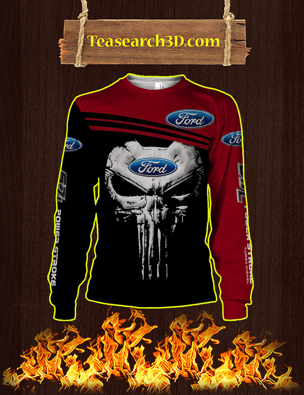 Punisher Skull Ford 3D Full Printing long-sleeved