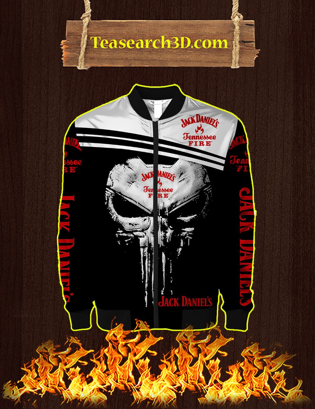 Punisher Skull Jack Daniel's Tennessee Fire 3D Bomber