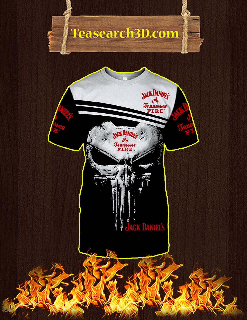 Punisher Skull Jack Daniel's Tennessee Fire 3D T-shirt