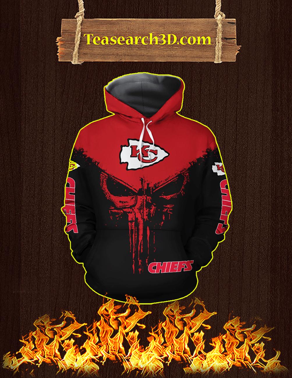 Punisher Skull Kansas City Chiefs 3D Full Printing Hoodie