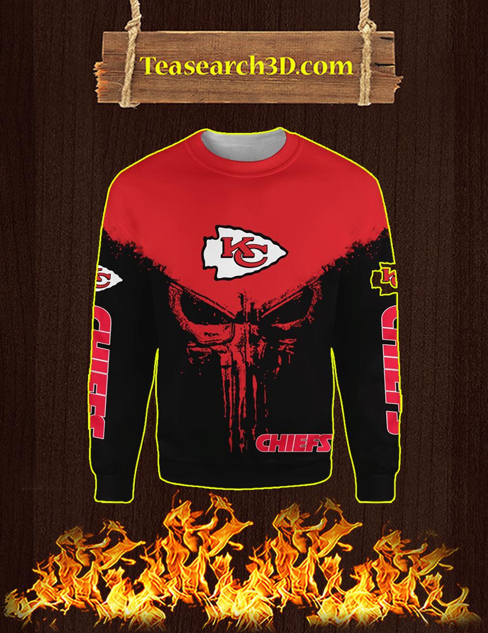 Punisher Skull Kansas City Chiefs 3D Full Printing Sweatshirt